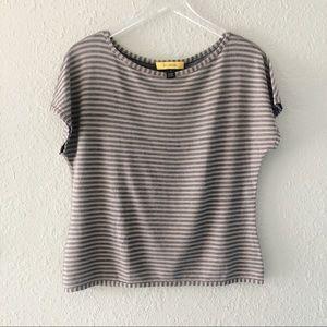ST. JOHN Grey & Tan Stripe Short Sleeve Top M